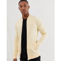 ASOS DESIGN jersey muscle bomber jacket in light yellow - Banana crepe