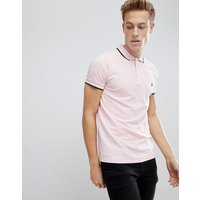 French Connection Tipped Pique Polo Shirt - Pink mel