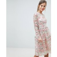 Chi Chi London Premium Embroidered Floral Long Sleeved Midi Prom Dress with Open Back