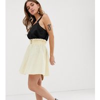 ASOS DESIGN Petite seersucker mini skirt with shirred waistband - Cream