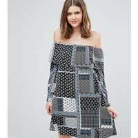 Influence TallInfluence Tall Frill Bardot Dress In Patchwork Print - Multi