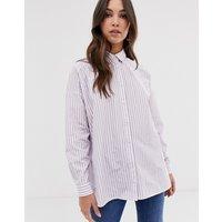 ASOS DESIGN long sleeve boyfriend shirt in lilac stripe - Multi