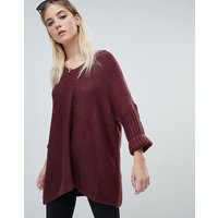 Noisy May Deep V-Neck Oversize Jumper - Red