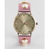 Asos Design Metallic Pearl Embellished Watch - Pink