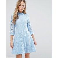 City GoddessCity Goddess Skater Shirt Dress In All Over Lace - Powder blue