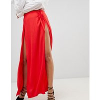 Ivyrevel Maxi Skirt with Double Thigh Splits - Hot red