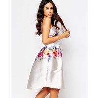 Hope and IvyHope & Ivy Floral Prom Dress With Contrast Straps - White