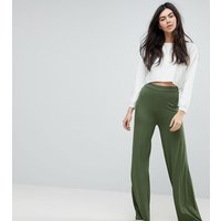 ASOS TALL Basic Jersey Wide Leg Trousers - Khaki