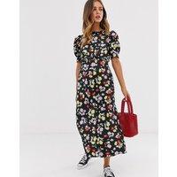 ASOS DESIGN midi tea dress in bright grunge floral print - Dark based floral