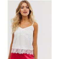 Outrageous Fortune lace insert cami top in white - White