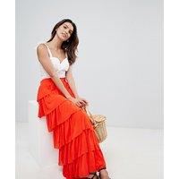 Vila tiered maxi skirt - Orange