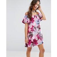 ASOSASOS Off Shoulder Sundress in Pink Floral Print - Pink floral