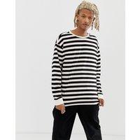 New Look oversized stripe long sleeve t-shirt in ecru - Off white