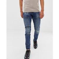 G-star Elwood Skinny Fit Super Stretch Denim Jean In Mid Wash With Knee Zip Detail