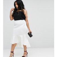 Falda de neopreno con sobrefalda en el bajo de ASOS CURVE Premium