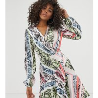 Flounce London Tall satin mini wrap dress in multi animal - Multi animal