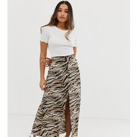 ASOS DESIGN Petite button front maxi skirt in tiger print