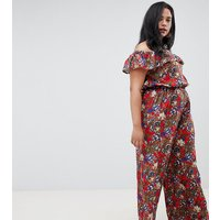 NVME Floral Bardot Jumpsuit With Frill Detail - Red print