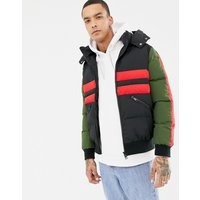 Criminal Damage puffer jacket in black with stripe - Black