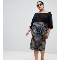 Lost Ink Plus Midi Pencil Skirt With Paperbag Waist In Oversized Bloom - Floral multi