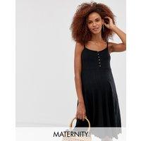 New Look Maternity button front rib midi dress in black - Black