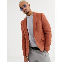 ASOS DESIGN slim blazer in rust with texture - Rust
