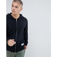 Calvin Klein Monogram Hooded Jacket With Zip Thru - Black