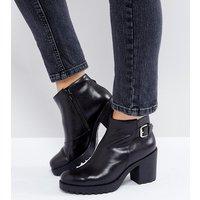 Vagabond Grace Buckle Detail Black Chunky Leather Ankle Boots - Black