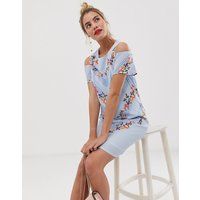 Yumi shift dress with cold shoulder detail in stripe and floral print - White