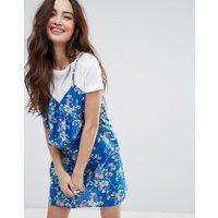 Pull&BearPull&Bear Tropical Print T-Shirt Cami Dress - Blue