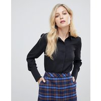 Oasis longline shirt with wrap back in black - Black
