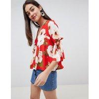 Girls on Film floral tie sleeve blouse - Floral print