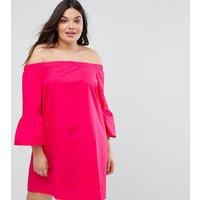 New Look PlusNew Look Curve Peplum Sleeve Bardot Dress - Bright pink