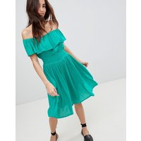 Brave Soul Petal Midi Dress with Frill Bardot - Emerald