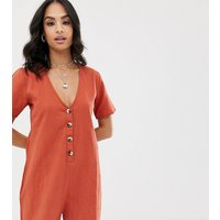 Akasa Exclusive Button Front Beach Playsuit In Rust
