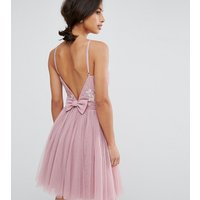 Little Mistress Petite Embellished Top Mini Tulle Prom Dress With Bow Back Detail - Mauve