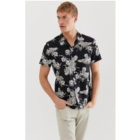 Selected Homme revere collar shirt with all over bird print in black - Black