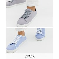 Truffle Collection two pack lace up plimsolls in grey and blue - Multi