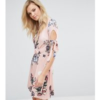 Oh My Love TallOh My Love Tall Plunge Tea Dress With Tie Sleeves In Floral Print - Pink vintage floral