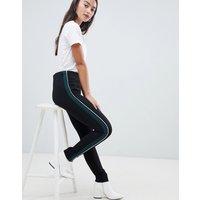QED London sports side stripe legging - Black / bottle/white