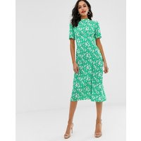 ASOS DESIGN midi tea dress with buttons in floral print - Floral