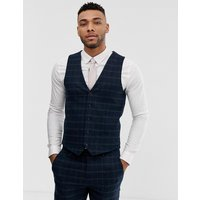 River Island skinny suit waistcoat in navy check - Navy