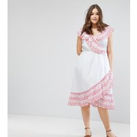 ASOS CurveASOS CURVE Midi Wrap Dress with Broderie Ruffle Trim - White
