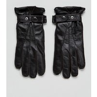 Paul Costelloe Strap Leather Gloves In Black - Brown