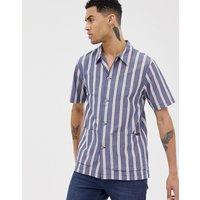 Nudie Jeans Co Svante cuban worker shirt in navy stripe - Navy