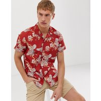 Selected Homme revere collar shirt with all over bird print in red - True red