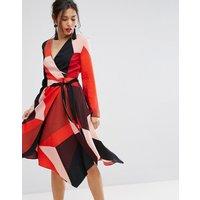 Warehouse Colourblock Wrap Dress - Red/pink