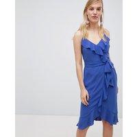 Oasis Cami Frill Front Wrap Midi Dress - Blue