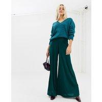 Miss Selfridge slinky wide leg trouser in green - Green