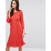 VilaVila Spotty Mesh Swing Dress - Red